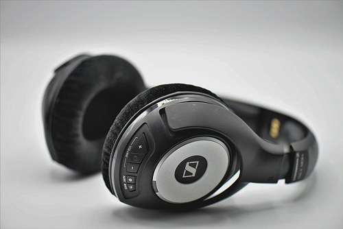 Black headphones against white backgrounds. Learn how to properly clean your headphones and other electronics.