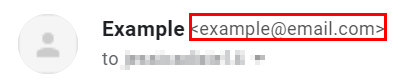 Example of the email address beside a sender's name. A good way to spot an email scam.