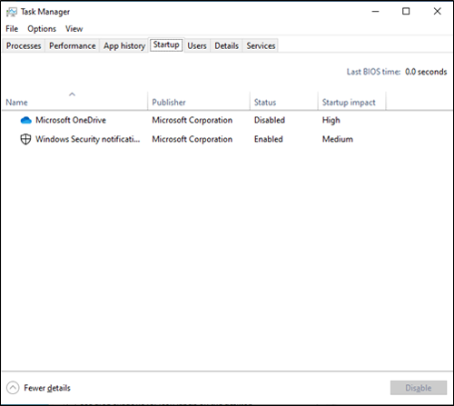 Screenshot of Task Manager showing Startup programs.