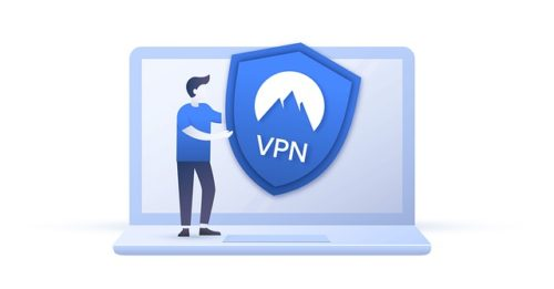 """Stylized artwork of a man standing on a laptop holding a shield with """"VPN"""" on it."""