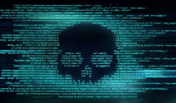 Malicious computer programming code in the shape of a skull representing extortionware.