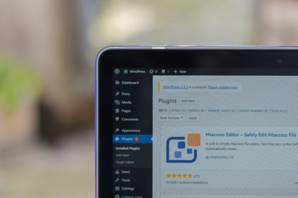 Photo of corner of laptop screen showing WordPress plugins