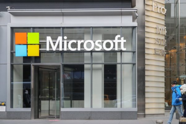 Microsoft store front. The company is releasing the Windows 10 21H1 update sometime this spring.