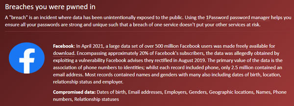 Screenshot of Facebook breach notification on Have I Been Pwned