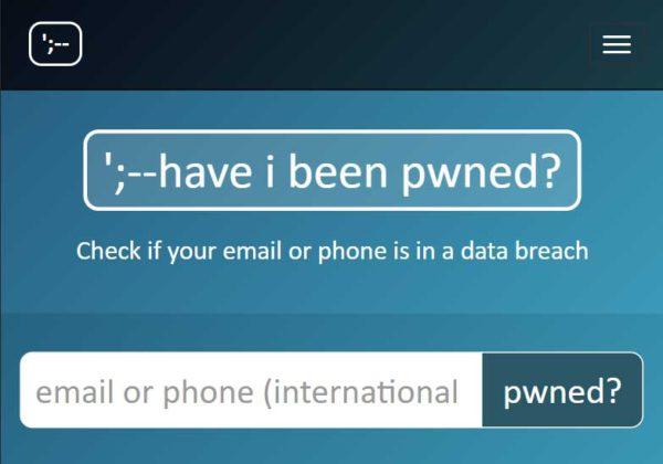 "Screenshot of ""Have I Been Pwned?"" Website"