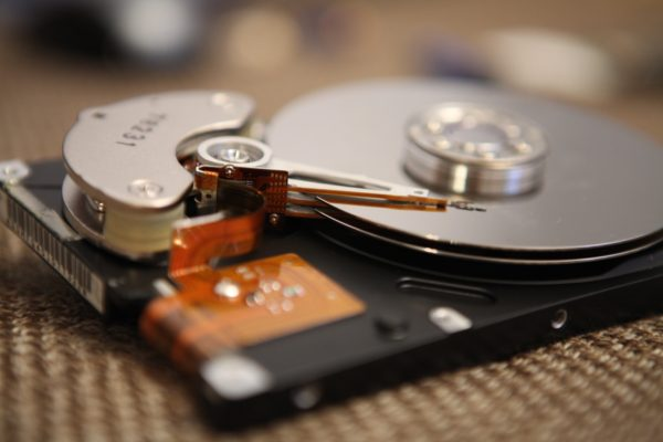 Close up of hard drive components