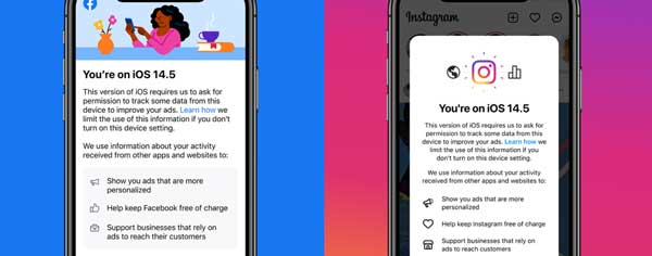 Facebook and Instagram notices urging users to permit tracking in iOS 14.5.