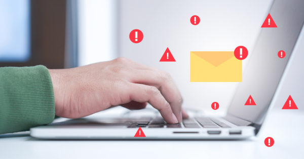 Concept art of spam/phishing emails. Watch out for fake unsubscribe buttons.